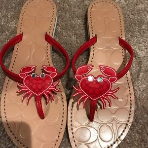 Coach Marina Rhinestone Crab sandals- size 10
